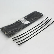 "100pcs 12"" Black Locking Stainless Steel Zip Ties Cable Exhaust Header Wrap"