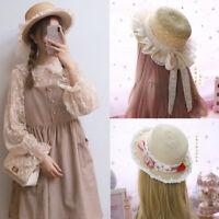 Women Lolita Strawhat Straw Hat Sun Cap Lace Bowknot Boater Handmade Summer Brim