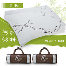 2 Pack Bamboo Memory Foam Bed Pillow King Size Hypoallergenic Cool Comfort