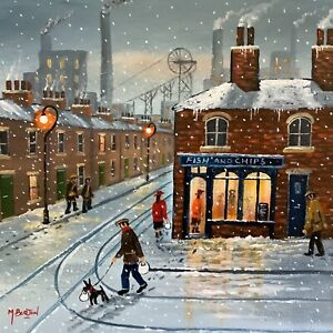 MAL.BURTON ORIGINAL OIL PAINTING. HOME WITH YOUR SUPPER BOY NORTHERN ART DIRECT