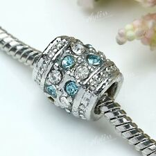 5x Blue&White Crystal Rhinestone Drum European Bulk Spacer Bead Fit Charm DIY