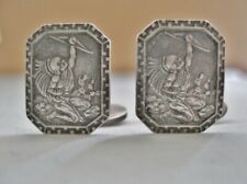 INCREDIBLY Artistic SUPERB CUFFLINKS Signed STERLING MEXICO Man HEADDRESS CACTUS