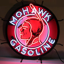 Mohawk Gasoline Neon Sign - Silkscreen Backing - Oil & Gas - Indian - Station