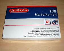 100 Karteikarten Herlitz DIN A5 weiss blanko ( Index Cards sortieren Büro ) Neu