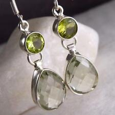 Handmade Peridot Drop/Dangle Sterling Silver Fine Earrings