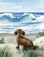 "Dachshund Art Print ""Dachshund at the Beach"" Signed by Watercolor Artist DJR"