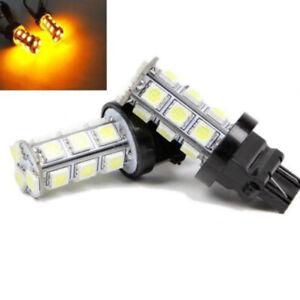 2X LED Reverse Back Up Brake Stop Turn Tail Lights Bulbs 3157 Amber 18SMD 5050 S