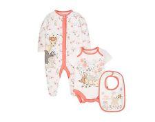 BNWT Disney Bambi Baby Set Newborn Babygrow Romper Vest Bib Thumper Sleepsuit