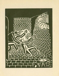 Original wood cut by MASSEREEL FRANS (1889-1972) Belgium