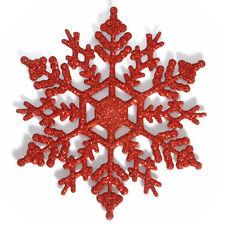 12PCS Red Glitter Snowflake Christmas Ornaments Xmas Tree Hanging Decoration