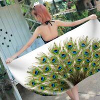 Ethnic Watercolor Mandala Peacock Feathers Sauna Bath Swim Beach Towel Blanket