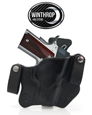 "1911 3"" barrel NO Laser Grips IWB Dual Snap Leather Holster R/H Black"