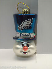 New In Box Philadelphia Eagles Hand Blown Glass Top Hat Snowman Ornament 400e9027a