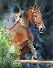 Giclee Print Hunter Jumper Horse Painting Art Equine Equestrian thoroughbred