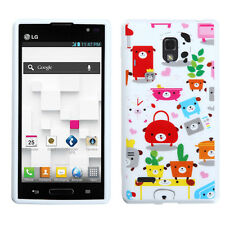 For LG Optimus L9 P769 - HARD RUBBER FITTED SKIN CASE COVER COLORFUL PUPPY DOGS