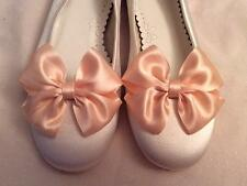 Flower Girl Shoes Clips Ivory or Peach Satin Bow Clips Bridesmaid Wedding