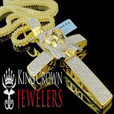 Real Genuine Diamond Jesus Face Cross Pendant Chain Set 10K Yellow Gold Finish