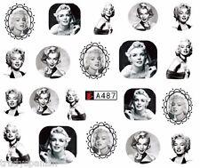 Arte en Uñas Calcomanías De Agua envuelve Negro Blanco Mini Esmalte gel de Marilyn Monroe (A487)