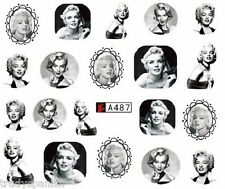 Nail Art Water Decals Wraps Black White Mini Marilyn Monroe Gel Polish (A487)