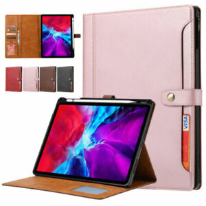 For iPad Pro 12.9 2020 4th Gen Shockproof PU Leather Card Wallet Flip Case Cover