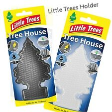 New Little Trees Tree House Clear Black Air Freshener Reusable Holder CAse
