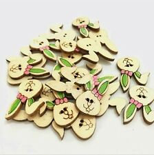 50Pcs Wood Wooden buttons  25*18mm Funny little bunnies button srapbooking craft