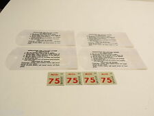 4 MICHIGAN 1975 NOS LICENSE PLATE STICKER TABS CONSECUTIVE NUMBERS FREE SHIPPING