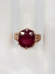 Antique 1940s $7000 8ct Natural Cushion Cut RUBY 14k Rose Gold Band Ring