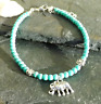 Turquoise Glass Beads Lucky Elephant Charm Anklet Ankle Bracelet