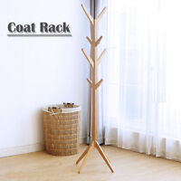 8 Hook Twist Center Stand Hall Tree Solid Wood Coat Hat Rack Natural Burlywood