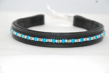 """17"""" (Oversize) Black Browband w/Turquoise & Metal Beads & Clear Crystal Rondells"""