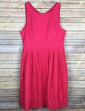 Adrianna Papell Womens Pink Dress Size 14 Plus Lace Fit & Flare Open Back $179