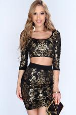 Abito gonna top Stampa nudo aderente Ballo Cerimonia Party Print Skirt Set L