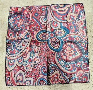 Red yellow paisley print 12 inch pocket square