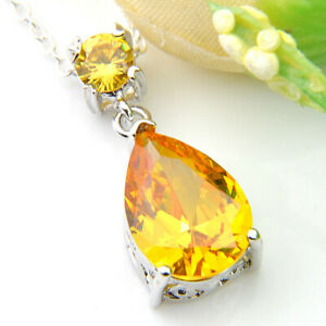Gorgeous Drop Natural Golden Citrine Gemstone Silver Wedding Necklace Pendants