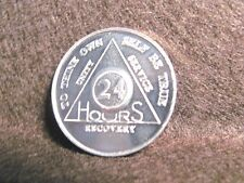 Alcoholics Anonymous-Token-TWO (2)Medals-24 HOURS & Serenity Prayer-Aluminum