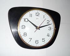 Belle Horloge forme libre  C.F.   Formica Noir  Vintage   Des Années 50's