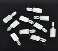 50PCS Silver Plated Tag Glue on Bail 21x7mm HL