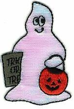 "2"" Inch Tall Halloween Ghost w/ Jack-o-Lantern Bucket Patch"