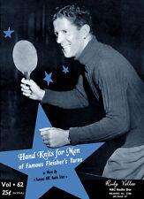 Fleisher's #62 c.1940 Vintage Knitting Pattern Book Movie Stars Men's Hand Knits