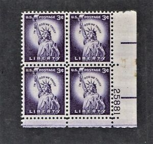 1954- U.S CLASSIC Regular Issue 3c Liberty Plt#Blk of 4 Sc#1035 M/NH/OG Gem ^