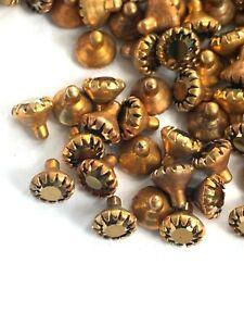 I024 - 144 Set w/Swarovski Rhinestones - Rivets/Insert Cups - 4mm - Gold Coated