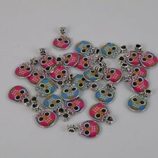 Owl Charm Pendant Lot of 26 2-sided Enamel Silver Tone Finding 9 Blue 17 Pink