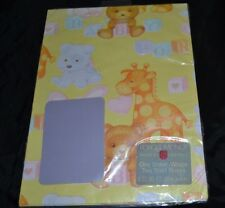 Vintage BABY SHOWER Paper Gift Wrap GIRAFFE BUNNY DOG TEDDY BEAR Sealed!
