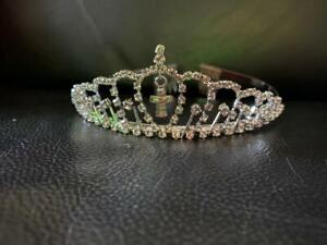 Elegant Diamante Crystal First Holy Communion Girl Tiara Cross Design With Comb