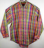 Robert Talbott Carmel Button Down Dress Shirt XL Extra Large Wild Color Plaid