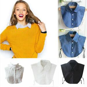 Women Detachable False Collar Fake Half Shirt Blouse Lapel Collar Bib Vintage