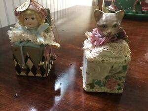 Katherine's collection Wayne Kleski cat & Victorian girl ornaments