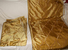 PAIR OF (2) PIER 1 IMPORTS PIER ONE LINED CURTAIN PANELS DRAPES GOLD SATIN 54X84
