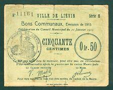 50 CENTIMES VILLE DE LIEVIN BONS COMMUNAUX  billet uniface  ETAT/ B+ Lot 794